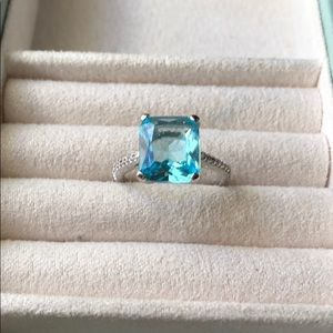 Jewelry - New! Aquamarine & White Topaz Sterling Silver Ring